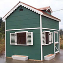 Green playhouse with loft